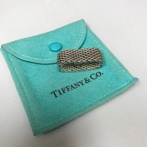 Tiffany & Co. Silver Mesh Ring - WITH POUCH! Sz 8